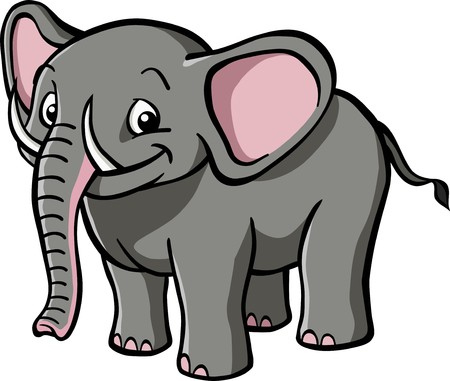 A happy, smiling cartoon elephant. Stock Vector - 7863590