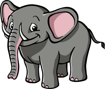 elephant cartoon: Un elefante cartoon felice, sorridente. Vettoriali