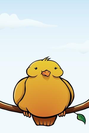 chubby cartoon: A happy, yellow fat bird sitting on a branch. Illustration
