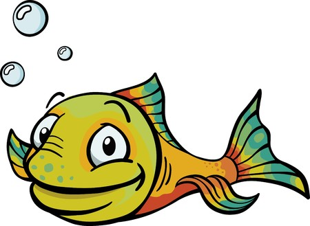 A happy multi-colored cartoon fish with air bubbles. Illustration