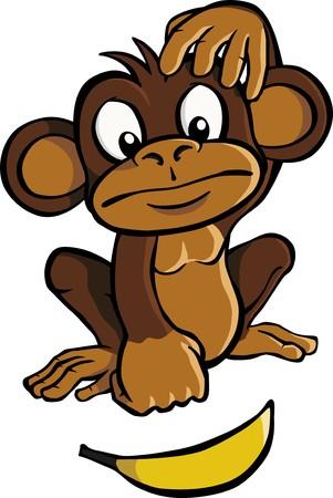 Ein Cartoon-Affe, Blick auf eine Banane und seinen Kopf kratzen.
