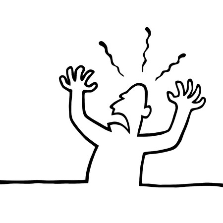 Black and white line drawing of an angry person with his hands in the air.