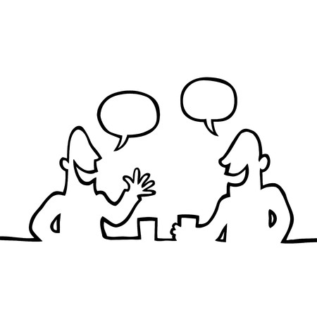 Black and white line drawing of two people having a friendly conversation and a drink.