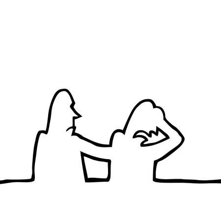 vaincu: Dessin de ligne noir et blanc de deux personnes tristes, r�conforter les uns des autres.
