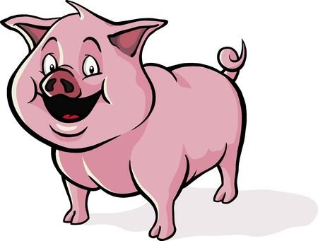 행복, 웃는 만화 돼지.