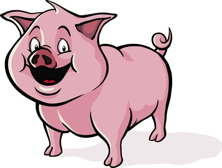 A happy, smiling cartoon pig.