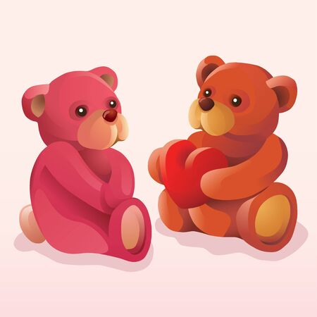 companionship: A brown teddy bear expresses his love to a pink teddybear by giving his heart away.