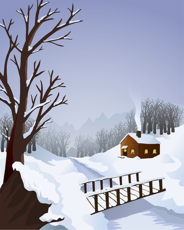 A typical winter landscape with a cottage in the woods. Includes a footbridge and trees.