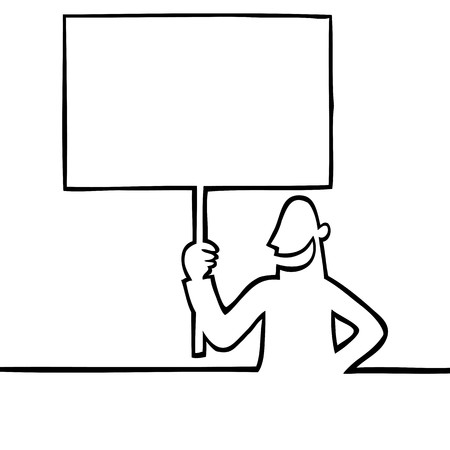 ad: Black and white drawing of a smiling man holding a blank protest sign. Can be used for any kind of textual or visual message or ad.