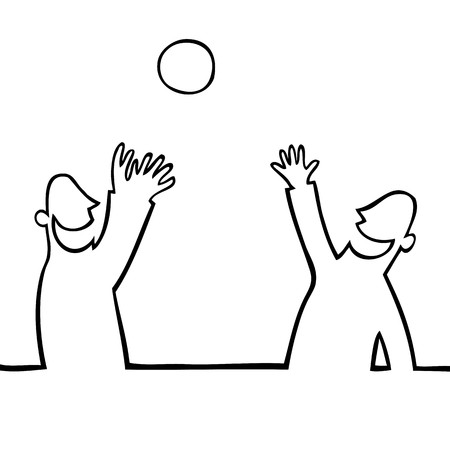 gevangen: Zwart-wit tekening van twee mensen gooien van een bal bij elkaar.