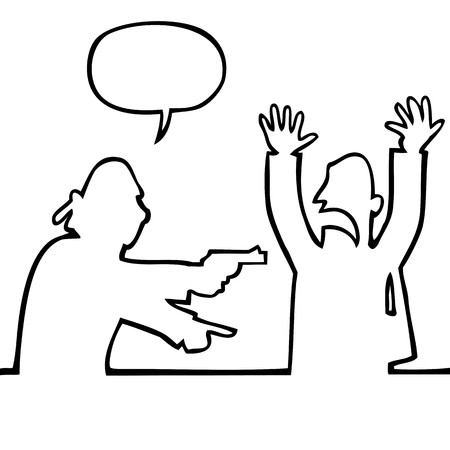 loot: Black and white drawing of a thief holding a gun demanding the bag. The scared victim puts his hands in the air.