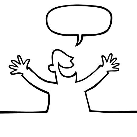 alegria: Dibujo de una persona feliz con los brazos abiertos, gritando algo de blanco y negro.