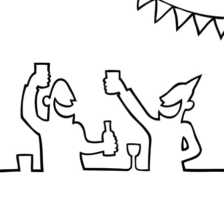 Black and white drawing of two people partying and holding drinks. Vector