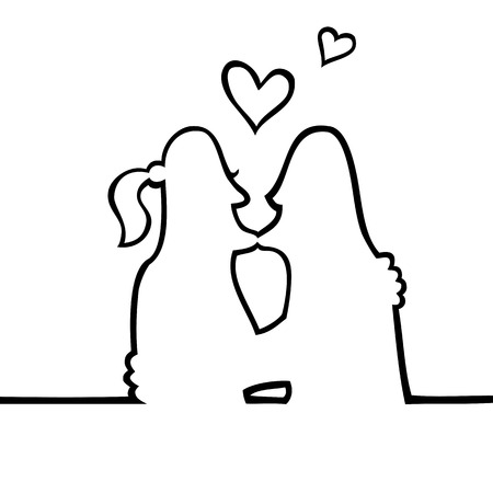 Black and white drawing of two people kissing intimately, with hearts floating above their heads. Vector