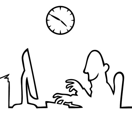 pm: Black and white drawing of a man working behind a computer, with a clock in the background