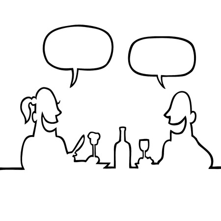 Black and white drawing of a man and a woman having a romantic dinner and a conversation.