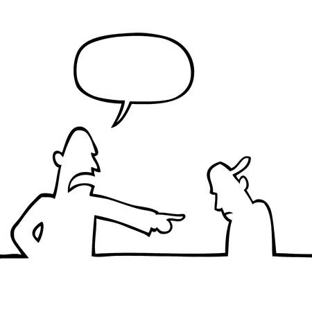 reprimanding: Black and white drawing of a father reprimanding his son.