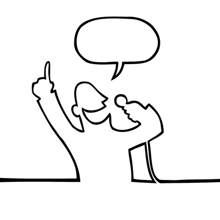 Black and white drawing of a man holding a microphone and announcing something with a finger in the air. Illustration