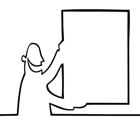 Black and white drawing of a man holding a bulletin board up in the air. Can be used for any kind of textual or visual message or ad. Illustration