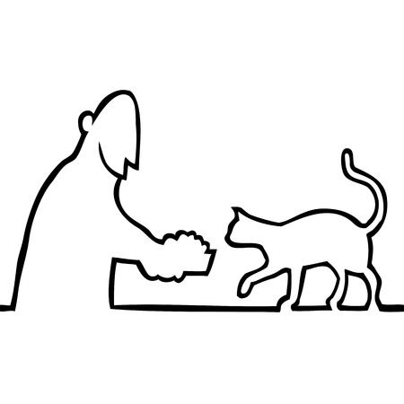 Black and white drawing of a guy giving a bowl of food to his pet cat. Vector