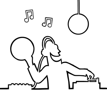 Black and white illustration of a disc jockey (DJ) behind a turntable plays a record in a disco, holding a vinyl record in his hand. Illustration
