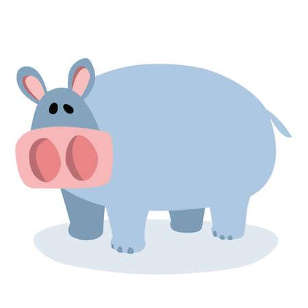 A cartoon hippopotamus on a white background. Vector