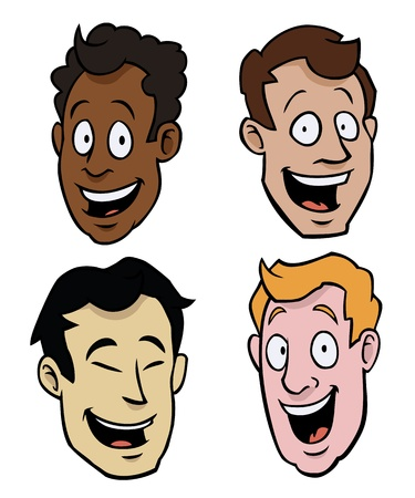 Four cartoony male faces of different races.