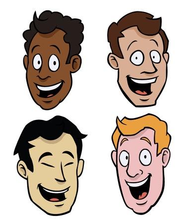 Vier cartoony mannelijke gezichten van verschillende rassen. Vector Illustratie