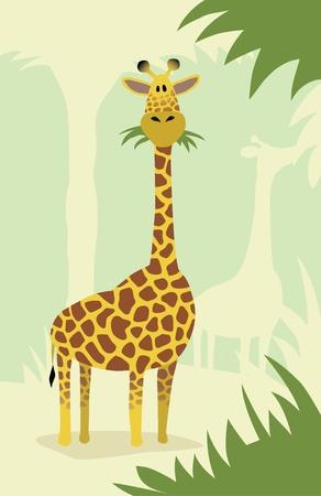 hoog gras: Cartoon giraffe met bomen Stock Illustratie