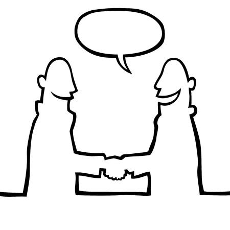 two men talking: Two people shaking hands Illustration