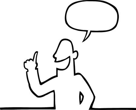zwart wit tekening: Persoon iets uit te leggen Stock Illustratie