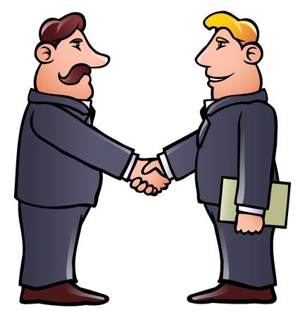 dandose la mano: Estrechar la mano de hombres de negocios