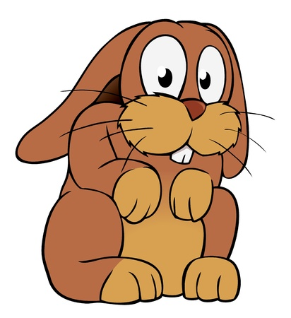 lapin dessin: Lapin cartoon brun Illustration