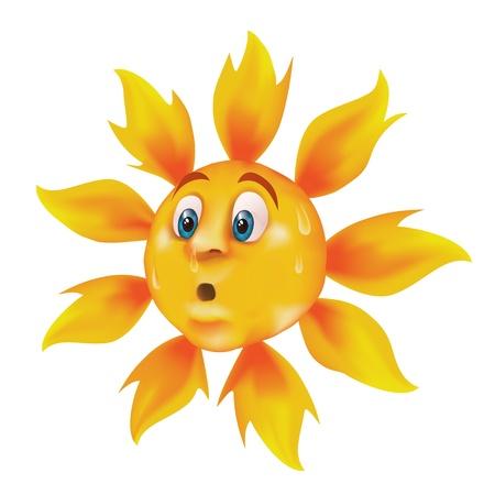 overheating: Sweating cartoon sun  Illustration