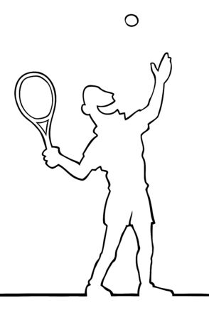 throw up: Tennis player serving the ball