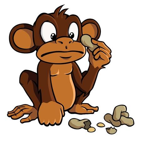 erdnuss: Cartoon Monkey mit Erdn�ssen Illustration