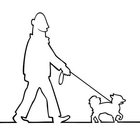 dog walking: Man walking the dog Illustration