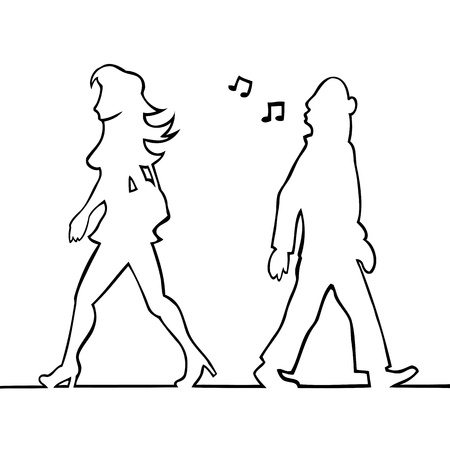 passing: Man whistling at passing woman