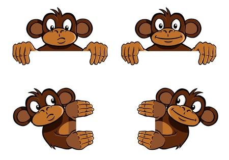 원숭이 프레임 장식 일러스트