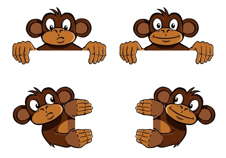 mono caricatura: Decoración de marco de mono