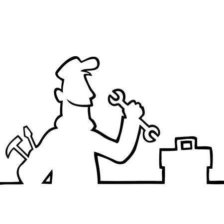 loodgieterswerk: Reparateur met gereedschap Stock Illustratie