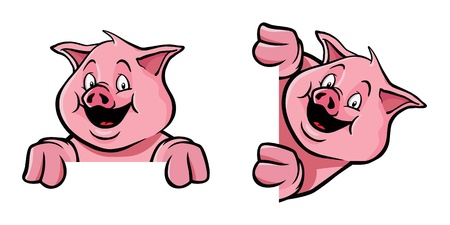 farm animal cartoon: Pig frame decoration