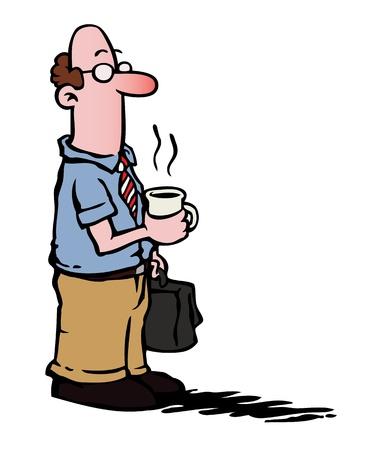 Business man / employee having coffee Stock Vector - 10979388