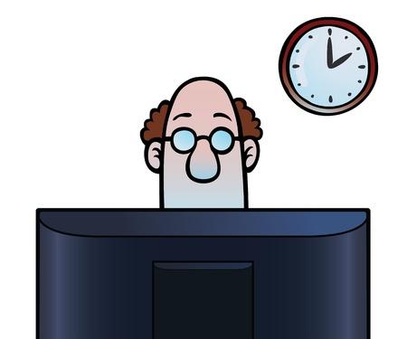 남자는 컴퓨터 화면을보고 일러스트