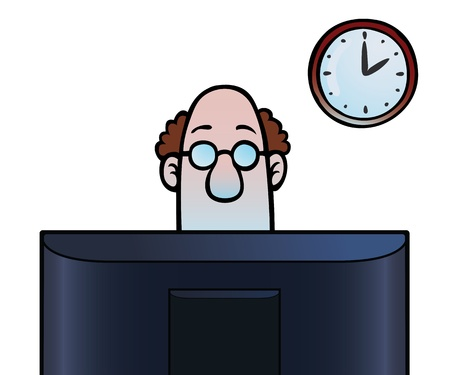 Man kijkt naar het computerscherm Stock Illustratie