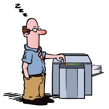 fotocopiadora: Empleado de la fotocopiadora Vectores