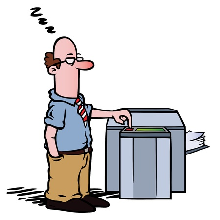 Employee at the copy machine Vector