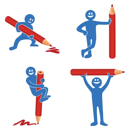 red pencil: Blue stick figure with red pencil