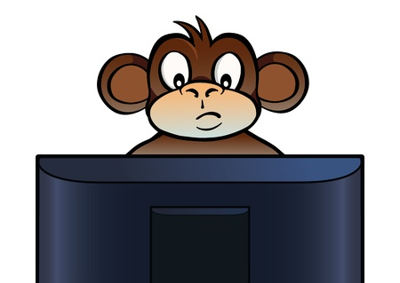 looking at computer screen: Monkey behind screen Illustration