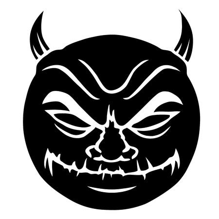 devilish: Evil smiley in black